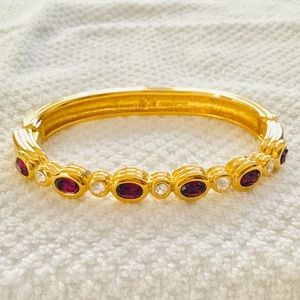 Swarovski Gold-tone Hinged Bangle with Crystals